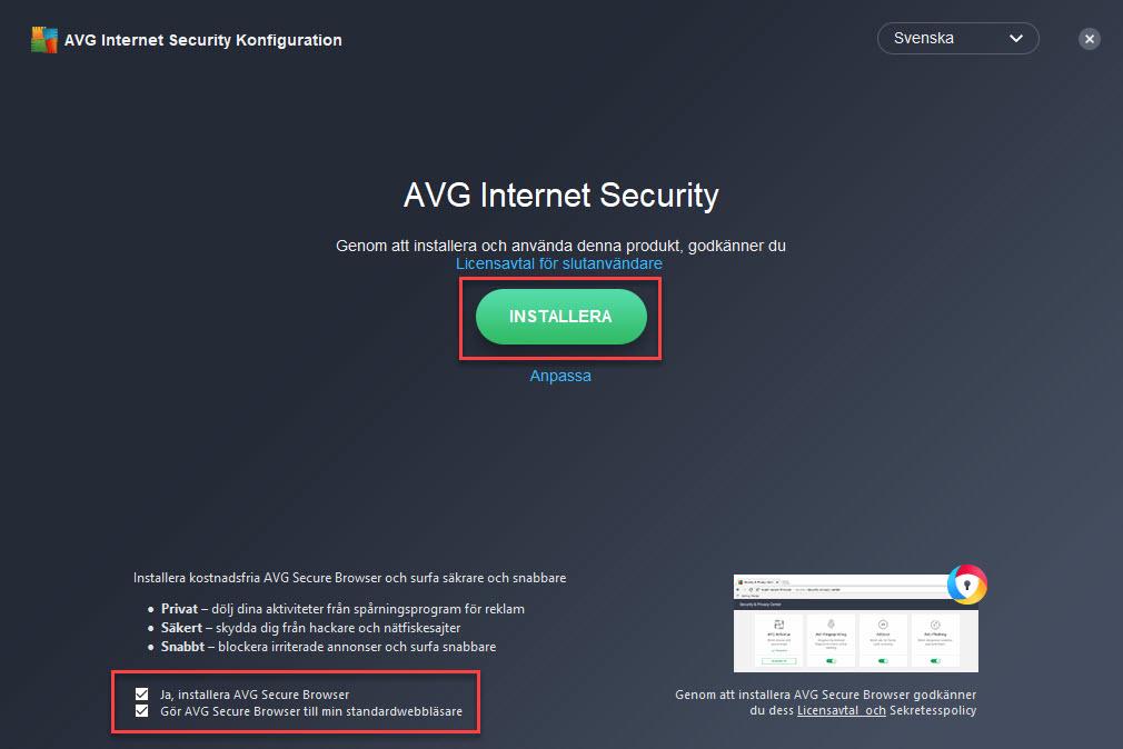 Installera AVG IS, Steg 2